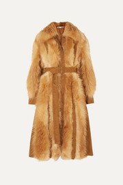 Stella McCartney Faux suede-trimmed faux fur coat