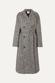 Stella McCartney Oversized double-breasted belted mélange wool-tweed coat