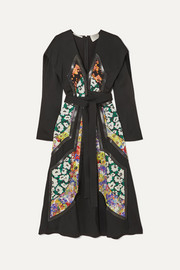 Stella McCartney + NET SUSTAIN vegetarian leather-trimmed twill and floral-print silk dress