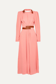 Stella McCartney + NET SUSTAIN faux leather-trimmed crepe dress