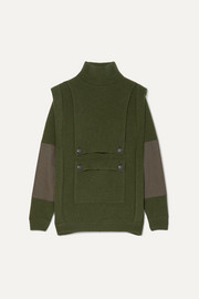 Stella McCartney Button-embellished paneled ribbed wool hoodie