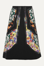 Stella McCartney Paneled vegetarian leather-trimmed wool-twill and floral-print silk skirt