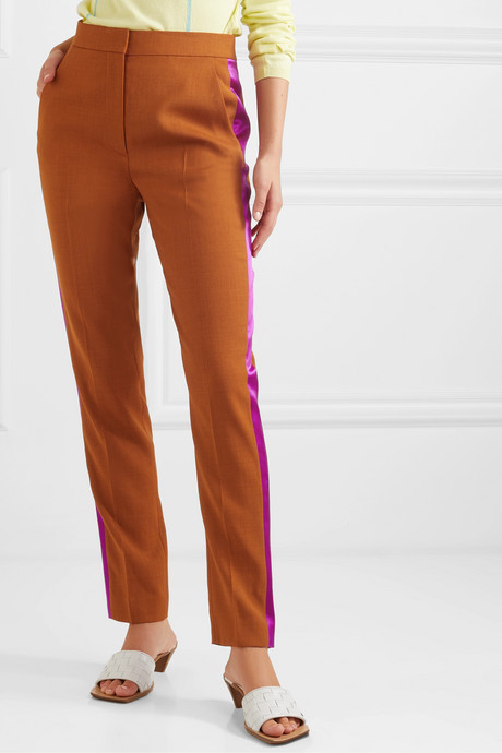 Colwyn satin-trimmed twill tapered pants