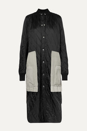 Suede and wool-trimmed quilted shell coat