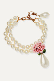 Dolce & Gabbana Faux-pearl, enamel and crystal necklace