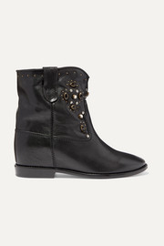 Cluster embellished leather ankle boots