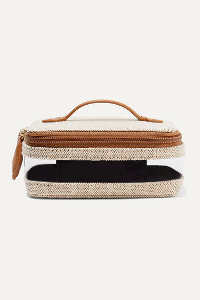 Mini See All Vegan Leather Trimmed Canvas And Tpu Cosmetics Case by Paravel