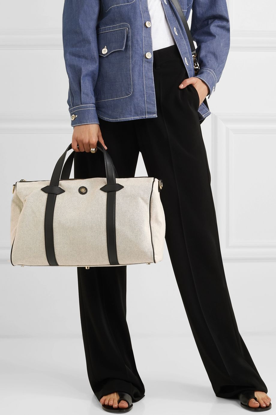 Paravel Mini Main Line Duffel leather-trimmed canvas weekend bag