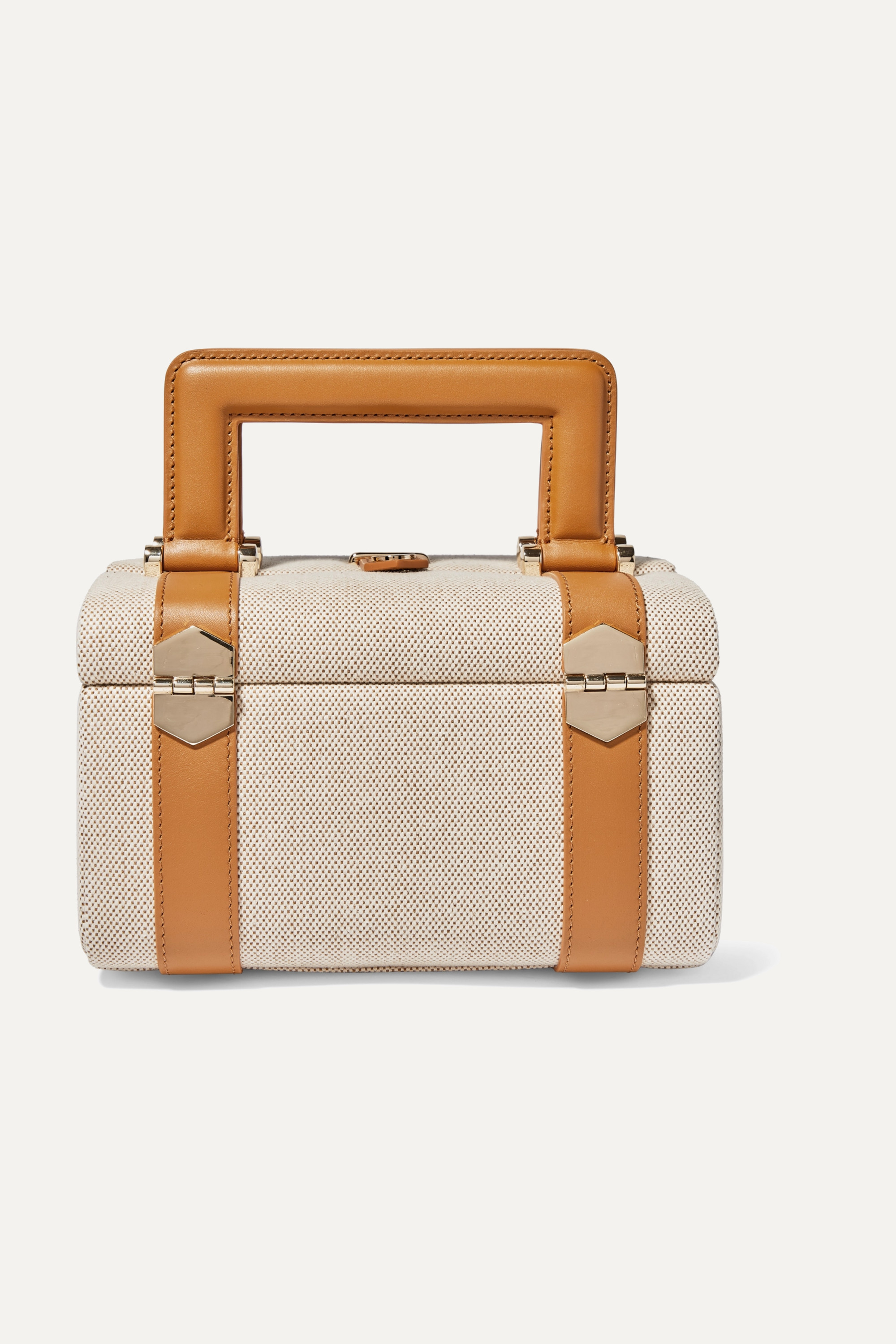 Leather Trimmed Cotton Canvas Tote