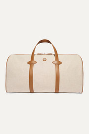 Leather-trimmed cotton-canvas weekend bag