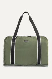 Fold-up canvas-trimmed shell weekend bag