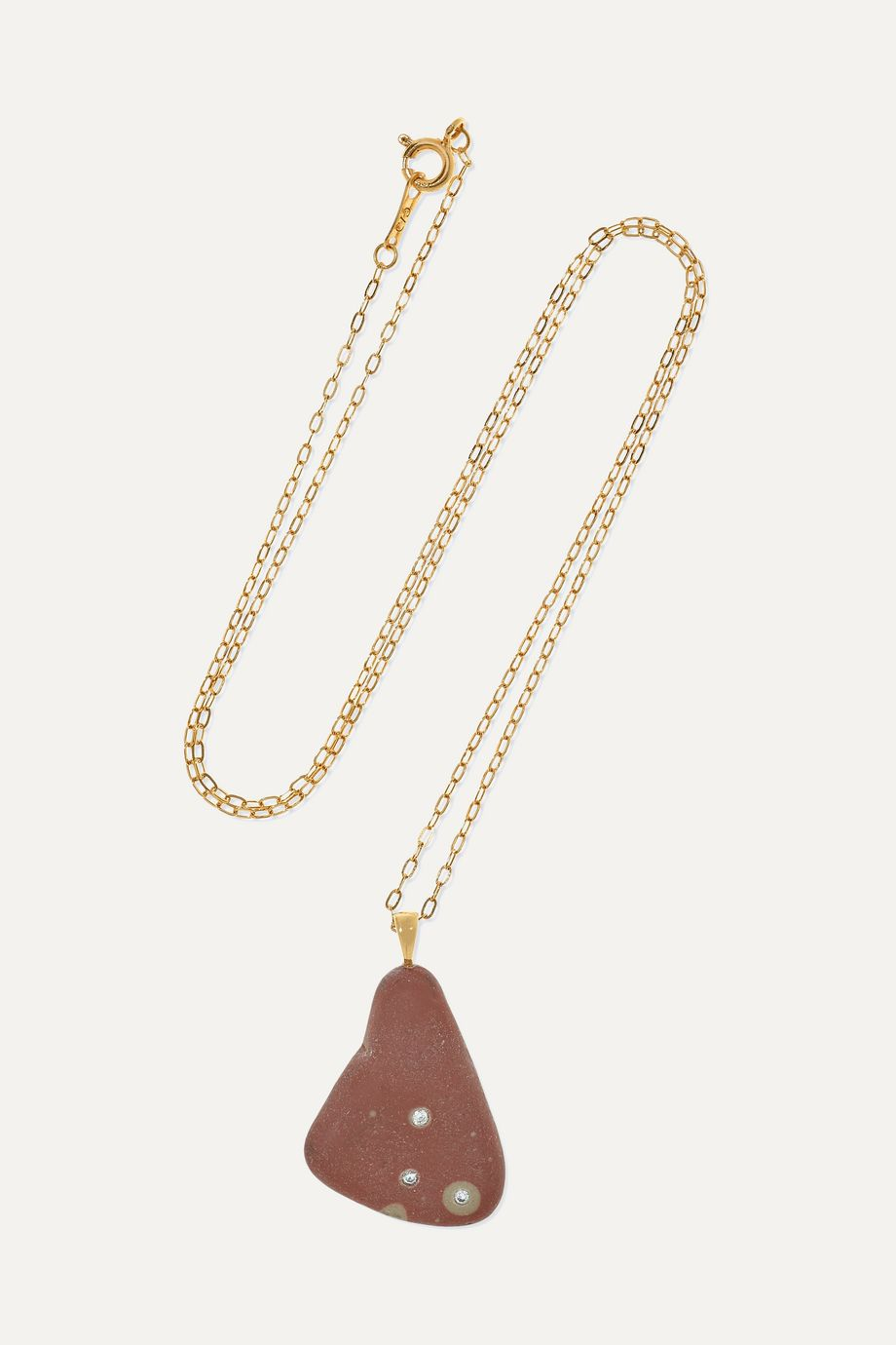 CVC Stones Tri 18-karat gold, stone and diamond necklace