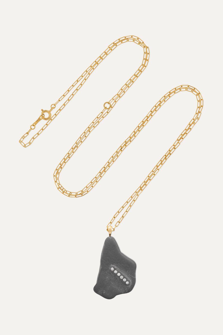 CVC Stones Kedrava Kette aus 18 Karat Gold mit Kieselstein und Diamanten