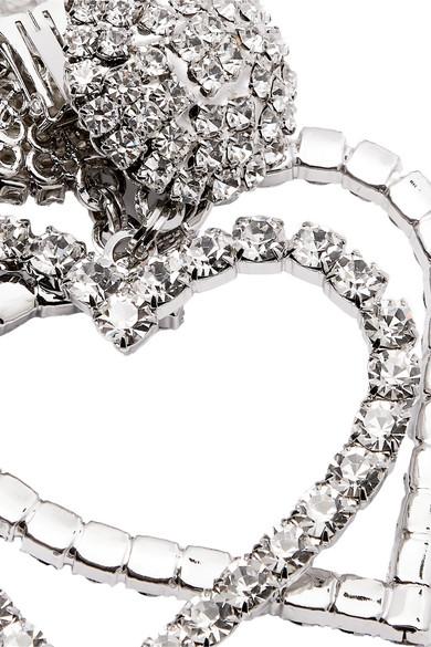 Alessandra Rich Jewelry Oversized silver-tone crystal clip earrings