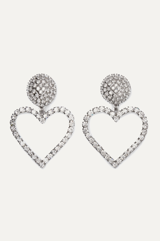 Alessandra Rich Oversized silver-tone crystal clip earrings