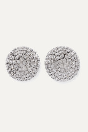 Oversized silver-tone crystal earrings
