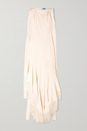 Asymmetric fringed paneled twill and crepe gown