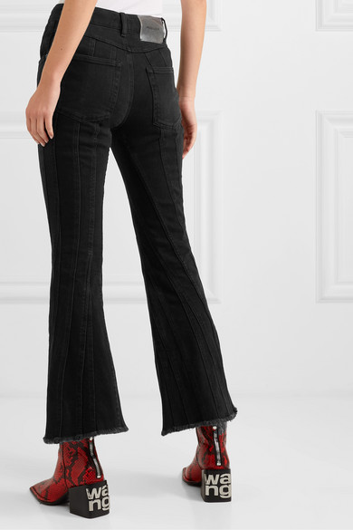 Frayed Paneled Mid Rise Flared Jeans by Mugler