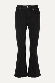 Mugler Frayed paneled mid-rise flared jeans