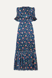 The Vampire's Wife The Night Flight tiered shirred floral-print silk-satin maxi dress