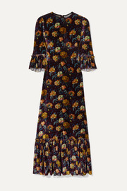The Vampire's Wife Festival ruffled tiered floral-print velvet maxi dress