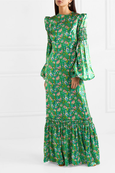 Shirred Floral Print Silk Satin Maxi Dress by The Vampire's Wife