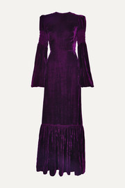 The Vampire's Wife Tiered shirred velvet maxi dress
