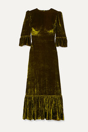 The Vampire's Wife Festival ruffled tiered velvet maxi dress
