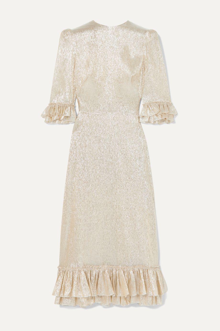 The Vampire's Wife Falconetti ruffled silk-blend lamé dress