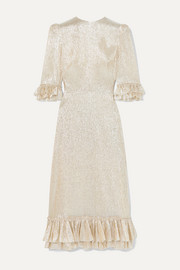 The Vampire's Wife Falconetti ruffled silk-blend lamé dress
