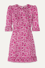 The Vampire's Wife The Mini Cate ruffled floral-print cotton-poplin dress