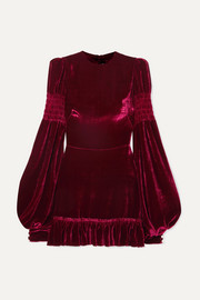 The Vampire's Wife Ruched ruffled velvet mini dress