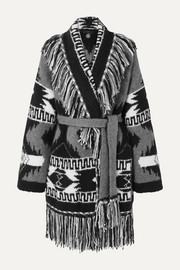 Fringed cashmere and silk-blend jacquard cardigan