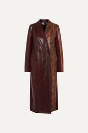 Double-breasted python-effect leather and wool-twill coat