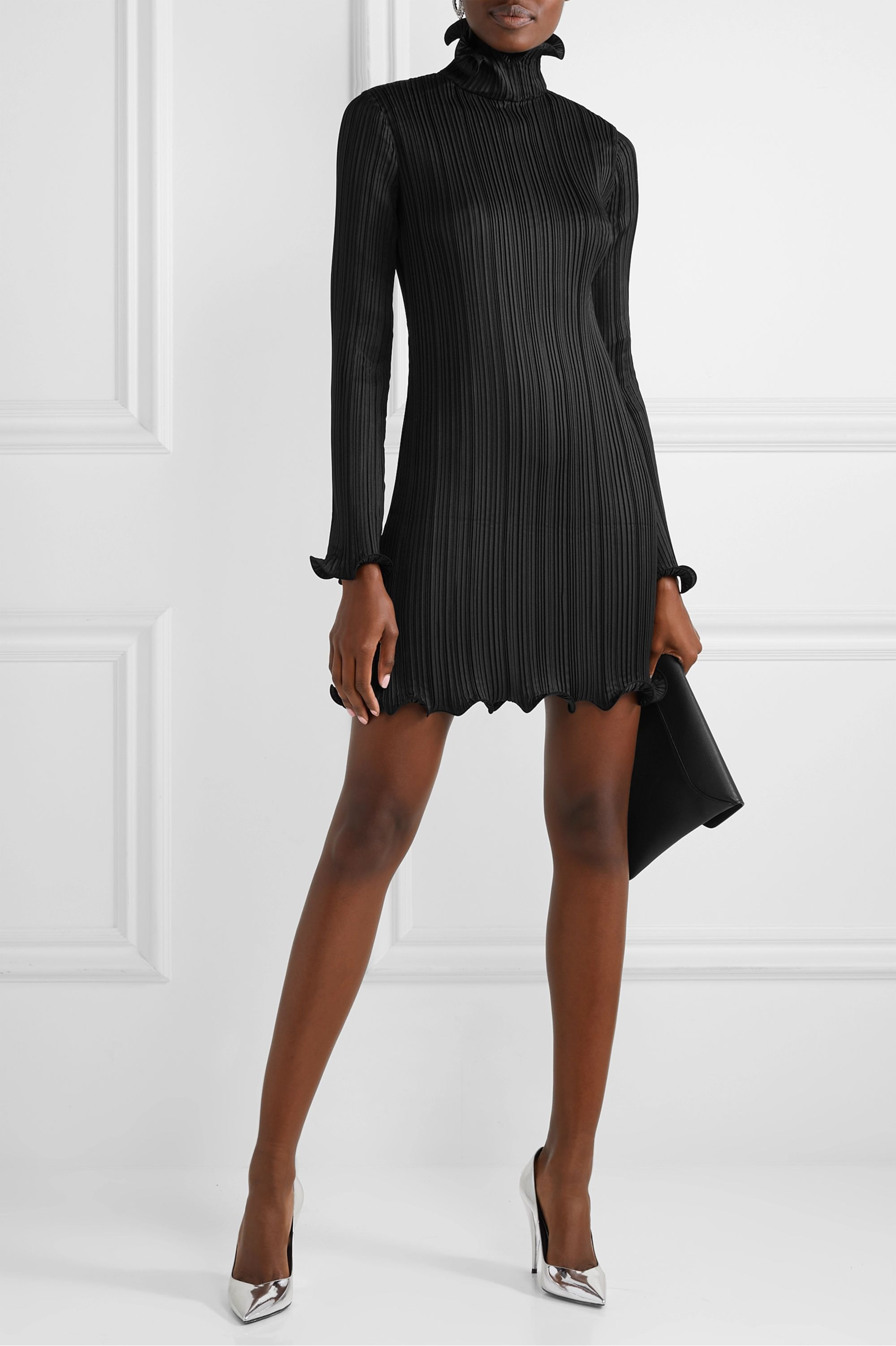 Givenchy Ruffle-trimmed plissé-satin mini dress
