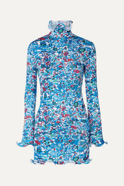Givenchy Floral-print plissé-satin mini dress
