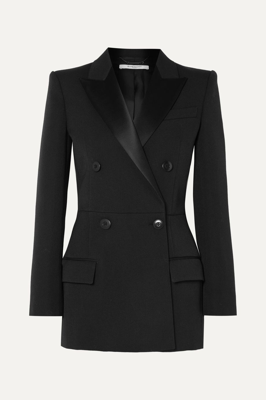 Givenchy Double-breasted satin-trimmed wool-blend twill blazer
