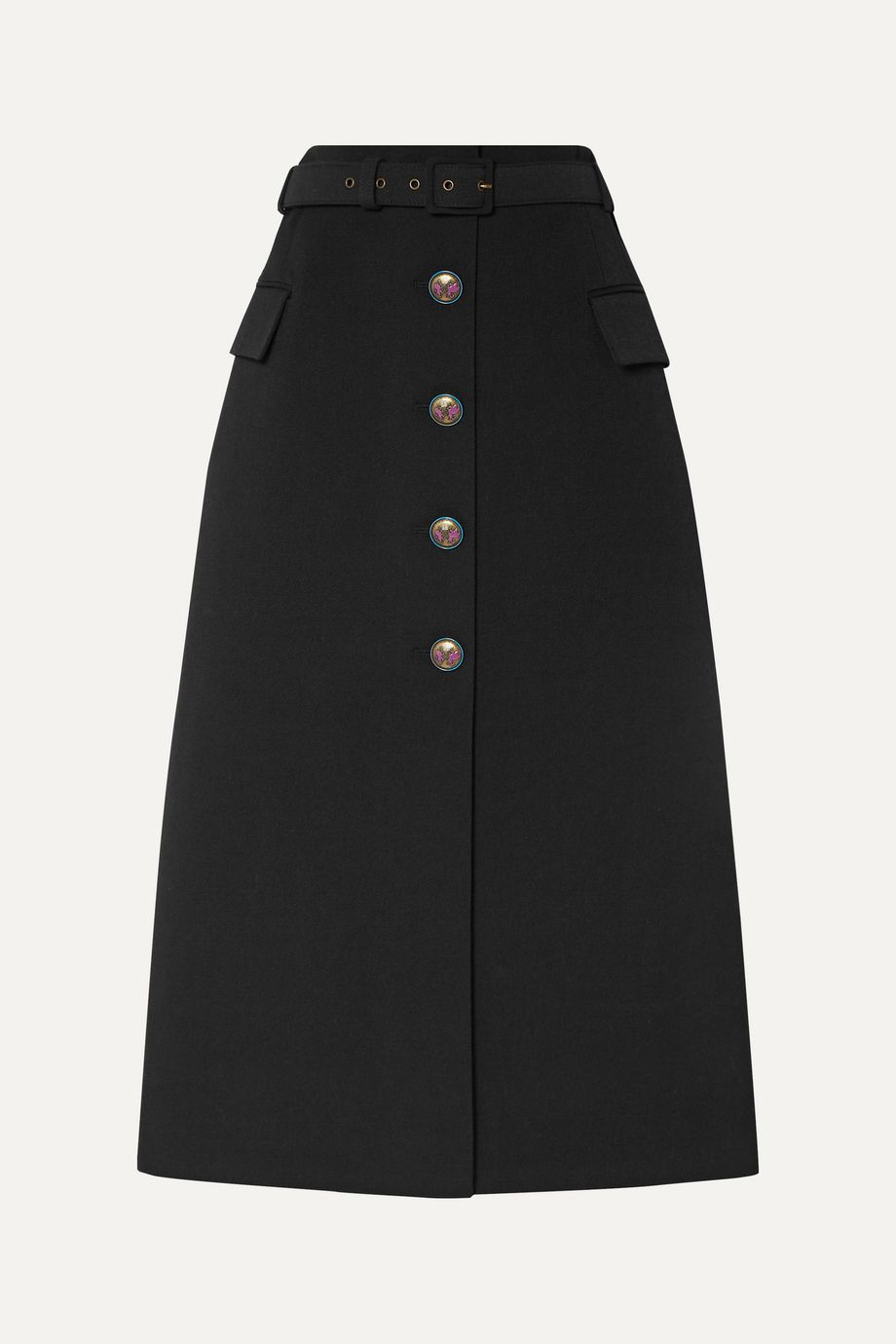 Givenchy Belted wool-blend twill midi skirt