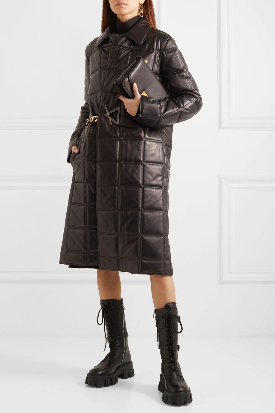 Bottega Veneta Chain-embellished quilted leather coat