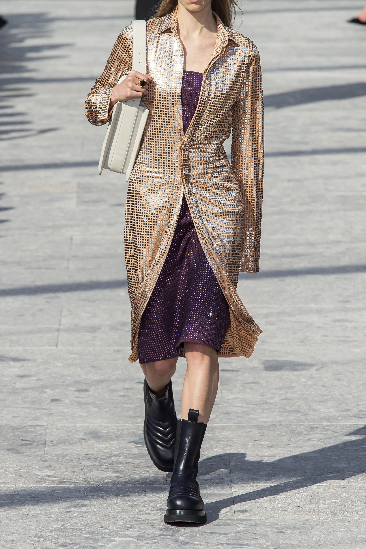 Bottega Veneta Robe midi en jersey satiné à sequins