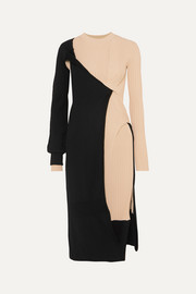 Bottega Veneta Two-tone draped ribbed-knit dress