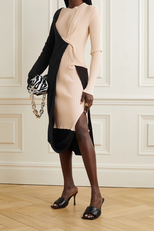 Bottega Veneta Two-tone draped ribbed-knit dress
