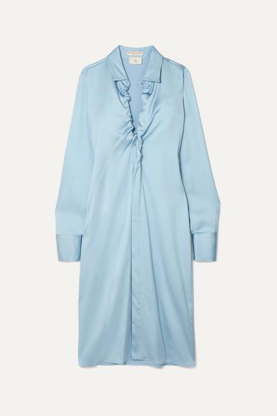 Ruched Stretch Satin Midi Dress by Bottega Veneta