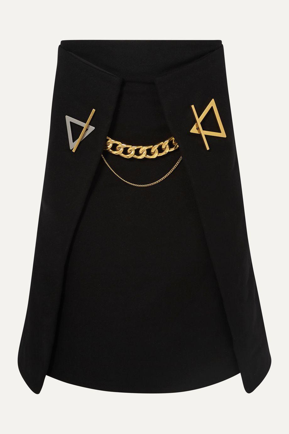 Bottega Veneta Chain-embellished cashmere-gabardine  skirt