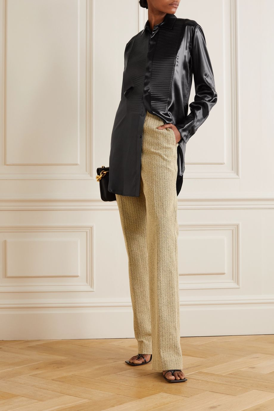 Bottega Veneta Pleated ribbed satin shirt