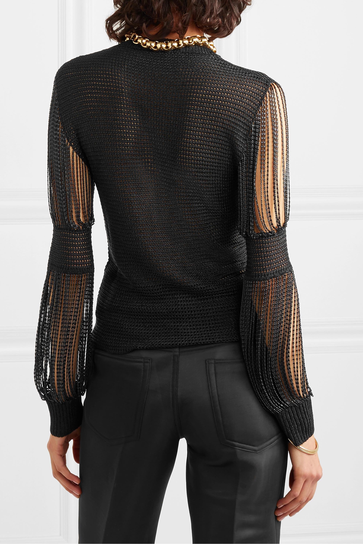 Bottega Veneta Metallic crochet-knit and chainmail sweater