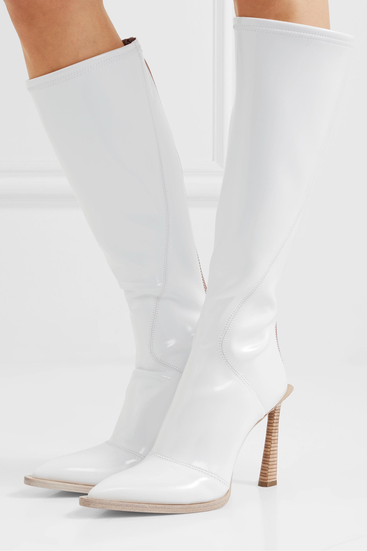 Fendi Zweifarbige kniehohe Stiefel aus glänzendem Neopren