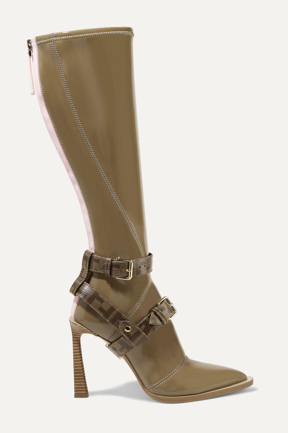 Fendi Logo-print coated canvas-trimmed glossed-neoprene knee boots