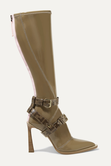 Logo Print Coated Canvas Trimmed Glossed Neoprene Knee Boots by Fendi