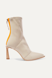 Two-tone glossed-neoprene ankle boots